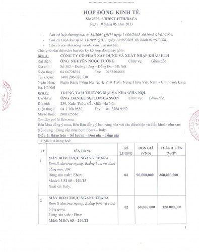 Hợp đồng cung cấp bơm trục đứng Ebara