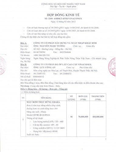 Hợp đồng phân phối bơm Ebara cho công ty Vinaconex