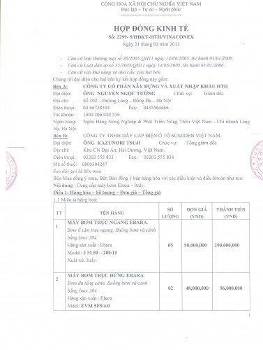 Hợp đồng cung cấp máy bơm Ebara nhập khẩu