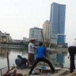 Máy bơm siêu tốc vét cạn Hồ Ngọc Khánh